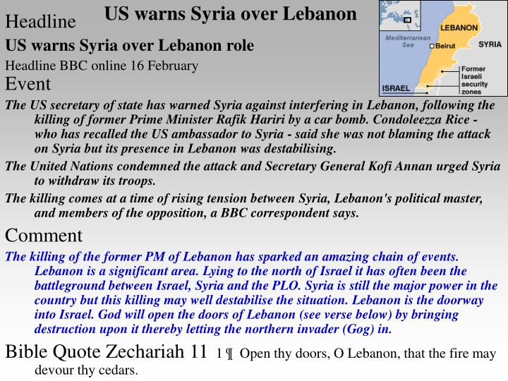 Us warns syria over lebanon