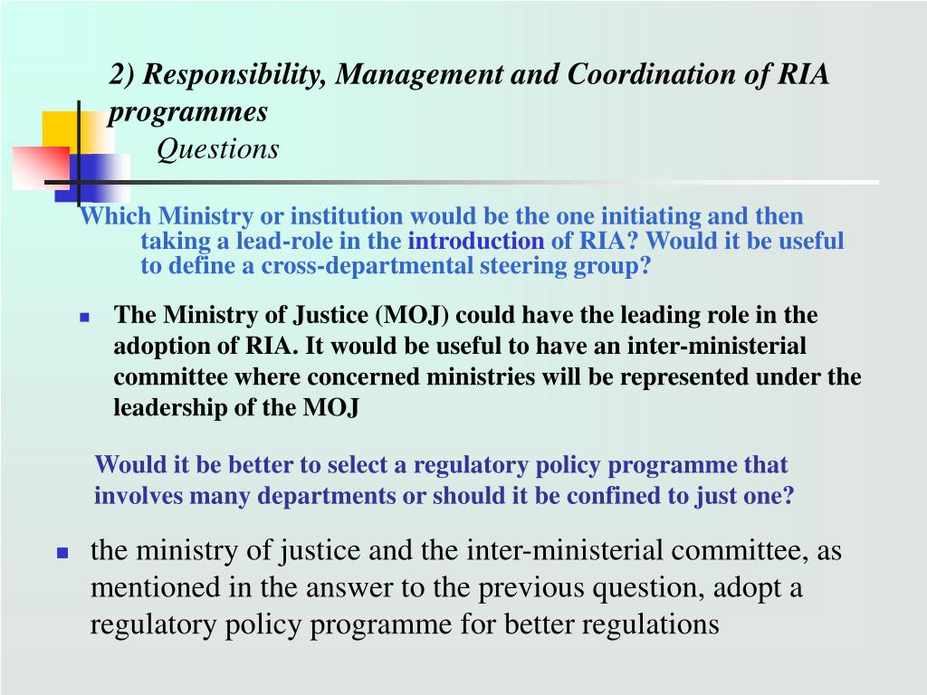 2) Responsibility, Management and Coordination of RIA programmes