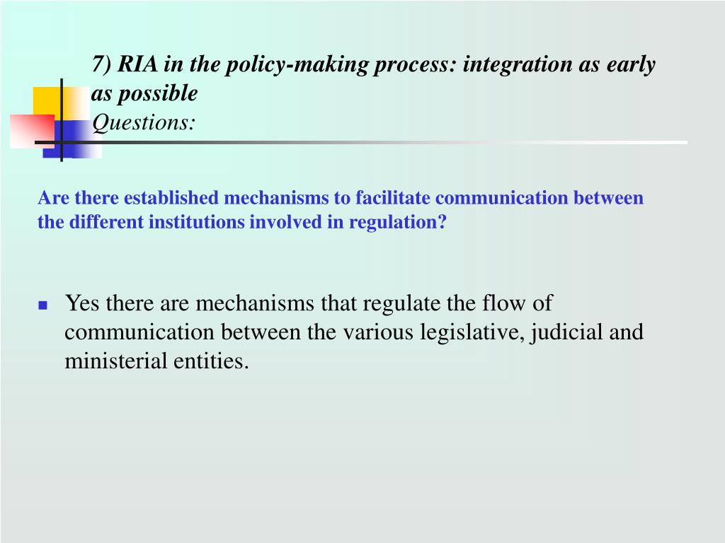 7) RIA in the policy-making process: integration as early as possible