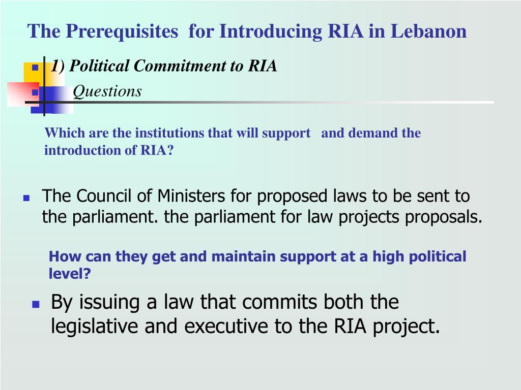 The Prerequisites  for Introducing RIA in Lebanon