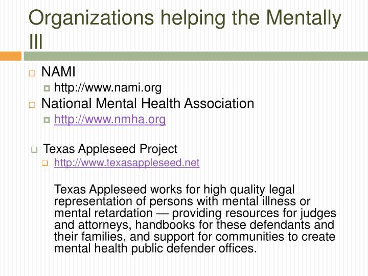 Organizations helping the Mentally Ill
