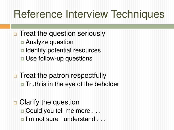 Reference Interview Techniques