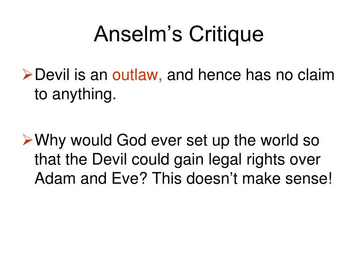 Anselm's Critique