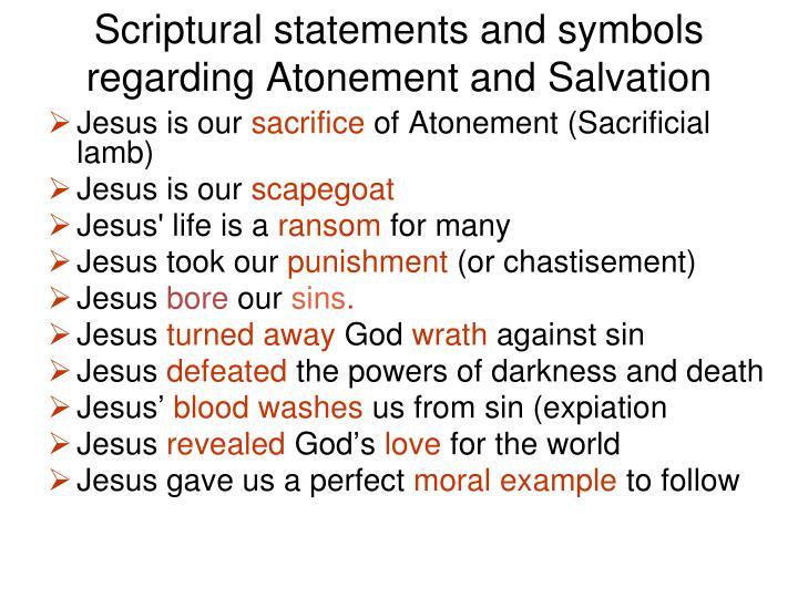 Scriptural statements and symbols regarding Atonement and Salvation