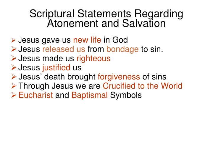 Scriptural Statements Regarding Atonement and Salvation