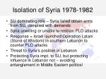 isolation of syria 1978 1982