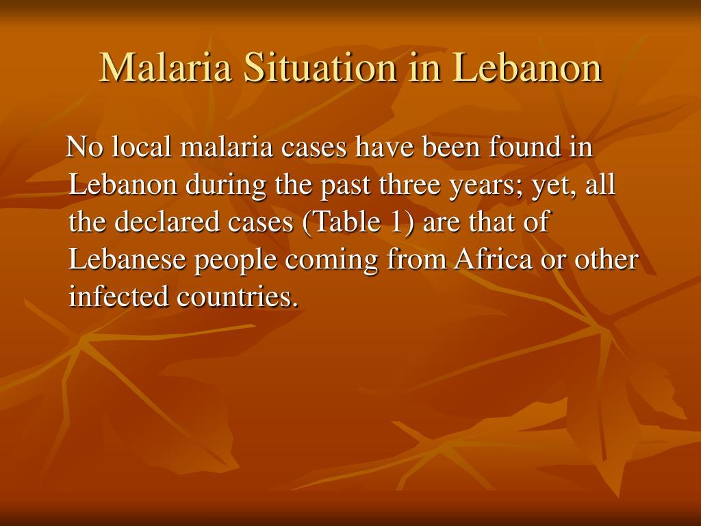 Malaria Situation in Lebanon