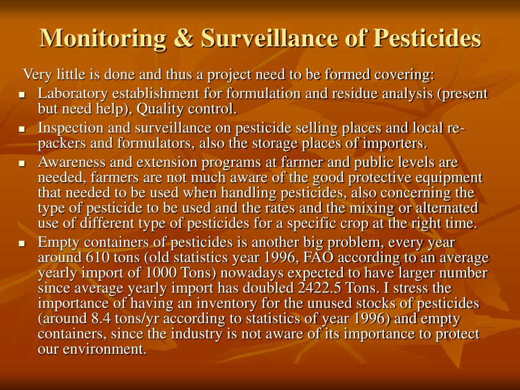Monitoring & Surveillance of Pesticides