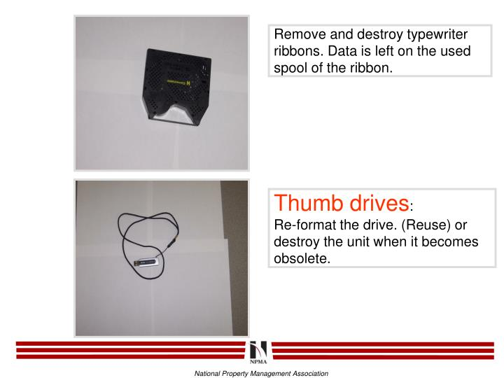 Remove and destroy typewriter ribbons. Data is left on the used spool of the ribbon.