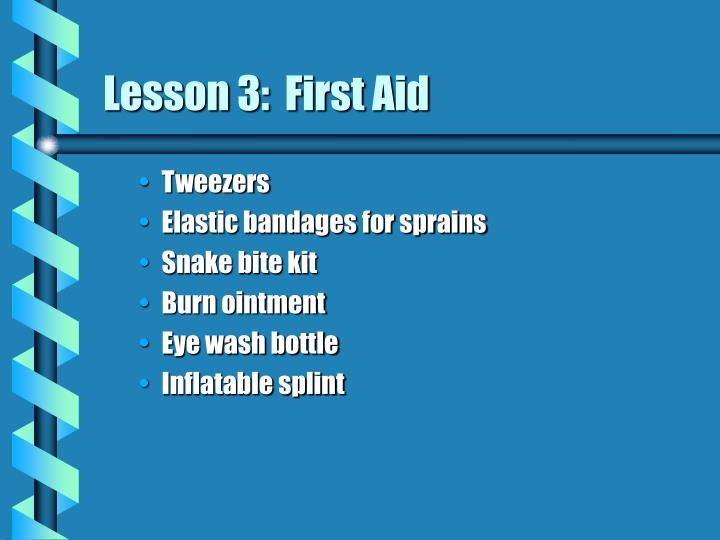 Lesson 3:  First Aid