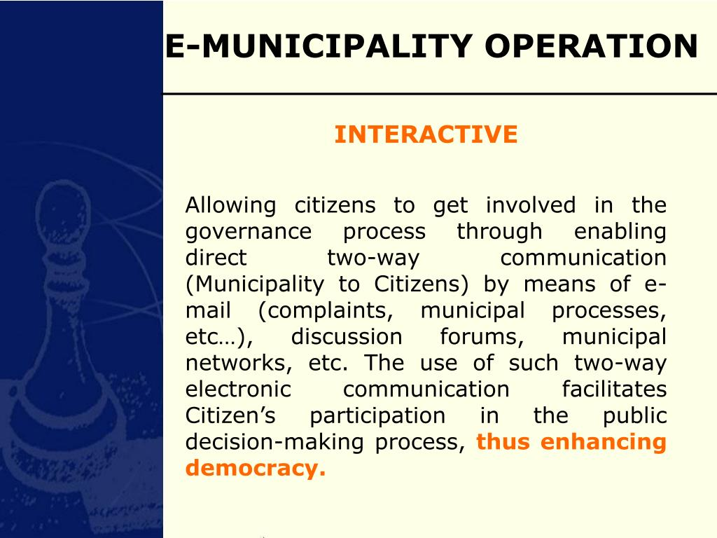 E-MUNICIPALITY OPERATION