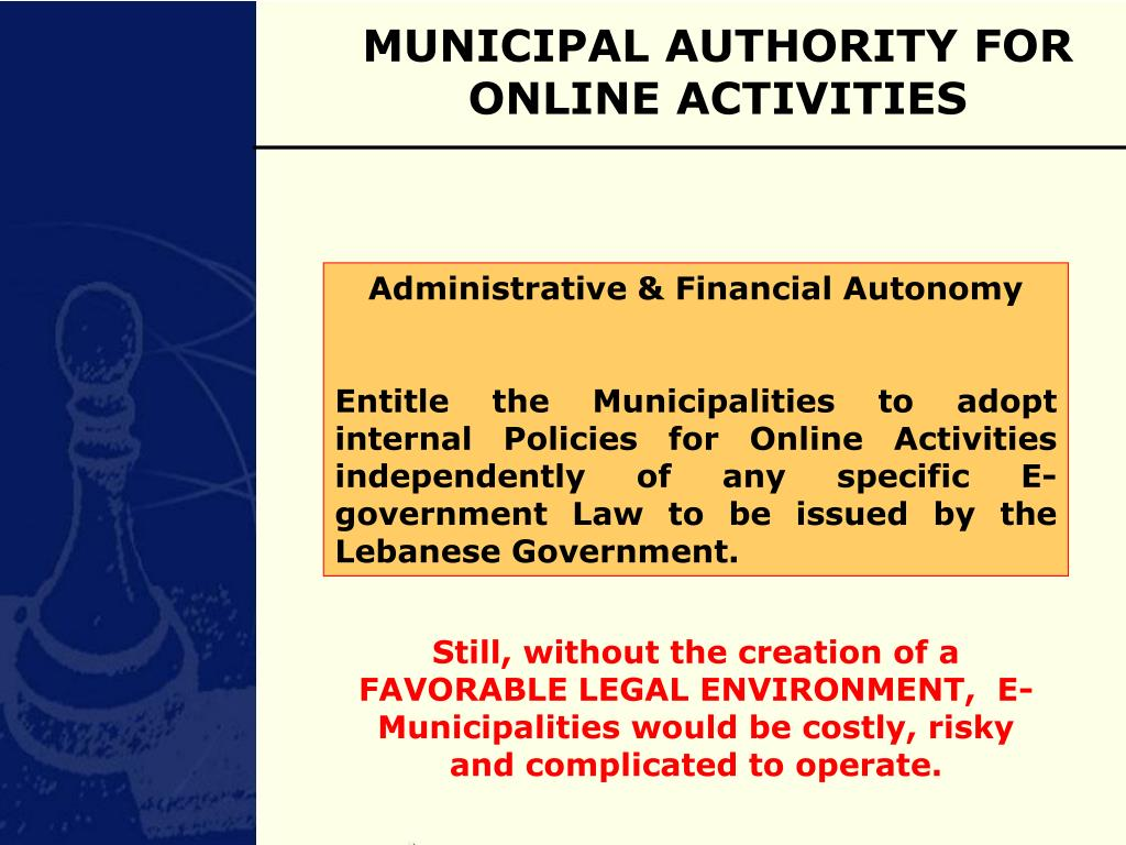 MUNICIPAL AUTHORITY FOR ONLINE ACTIVITIES