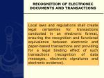 recognition of electronic documents and transactions