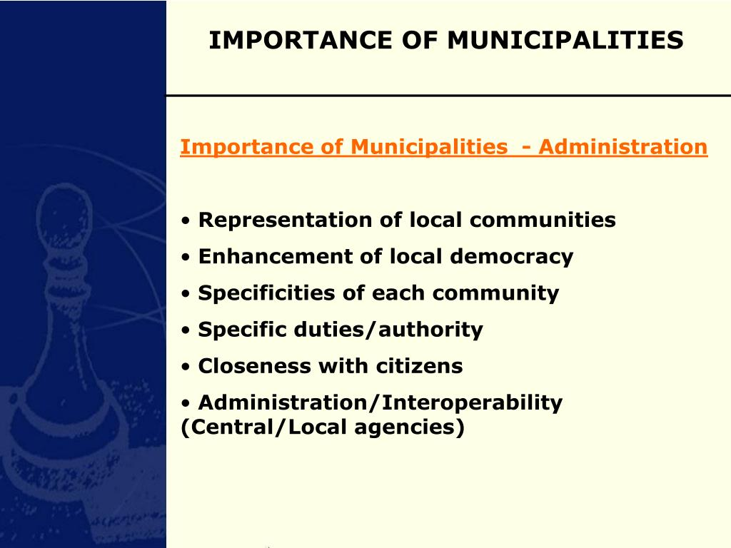 IMPORTANCE OF MUNICIPALITIES