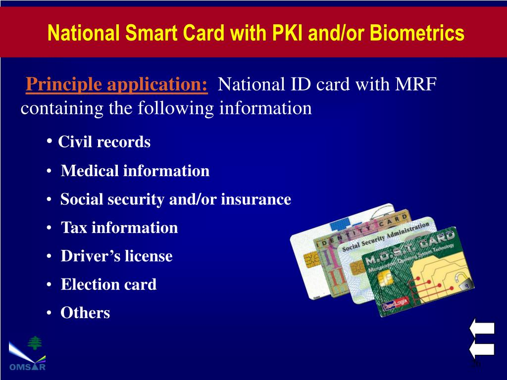 National Smart Card with PKI and/or Biometrics