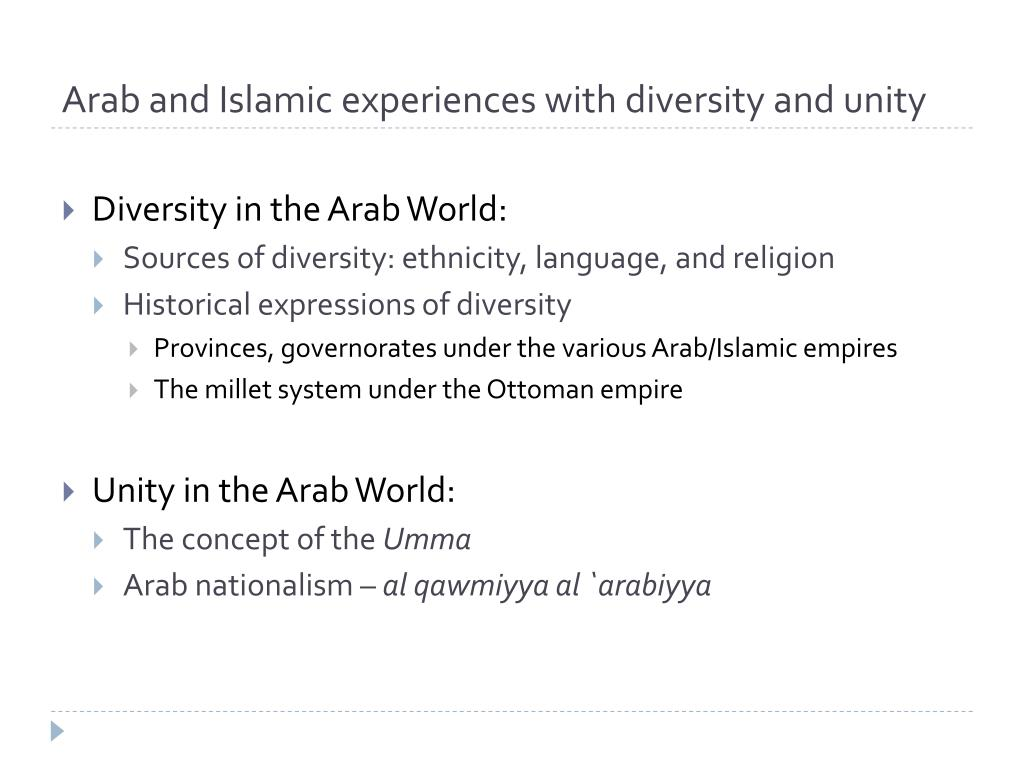 Arab and Islamic experiences with diversity and unity