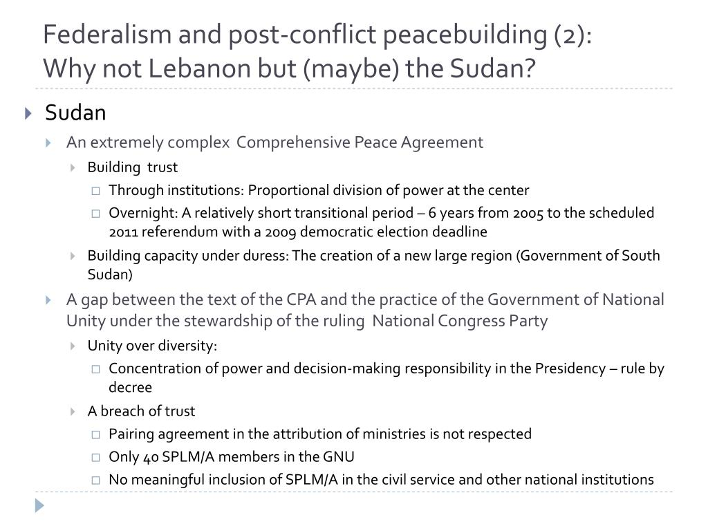 Federalism and post-conflict