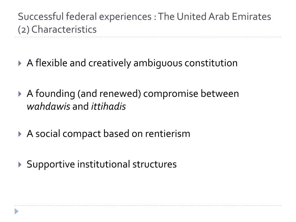 Successful federal experiences : The United Arab Emirates