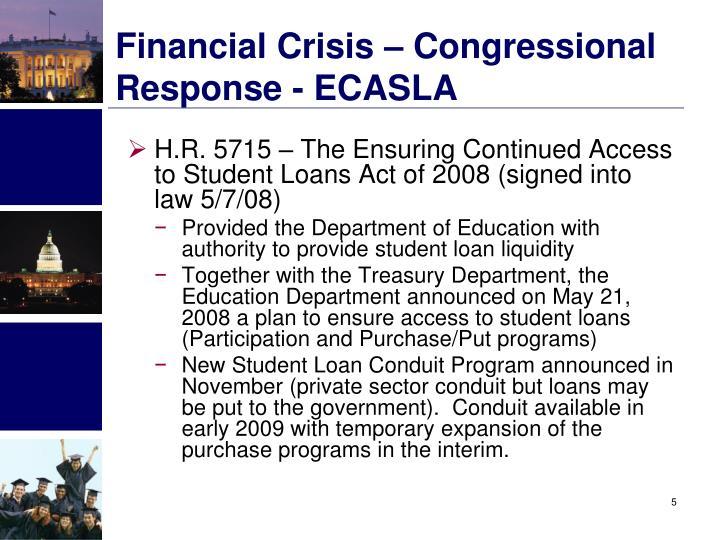 Financial Crisis – Congressional Response - ECASLA