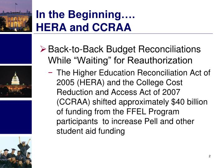 In the Beginning….               HERA and CCRAA