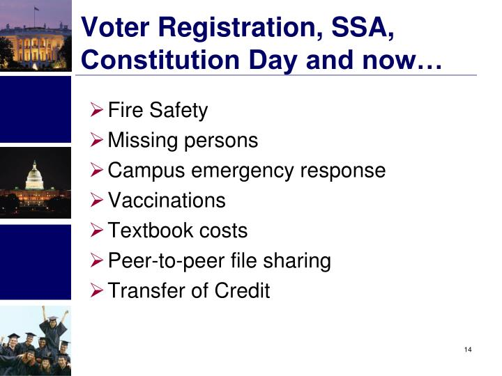Voter Registration, SSA, Constitution Day and now…