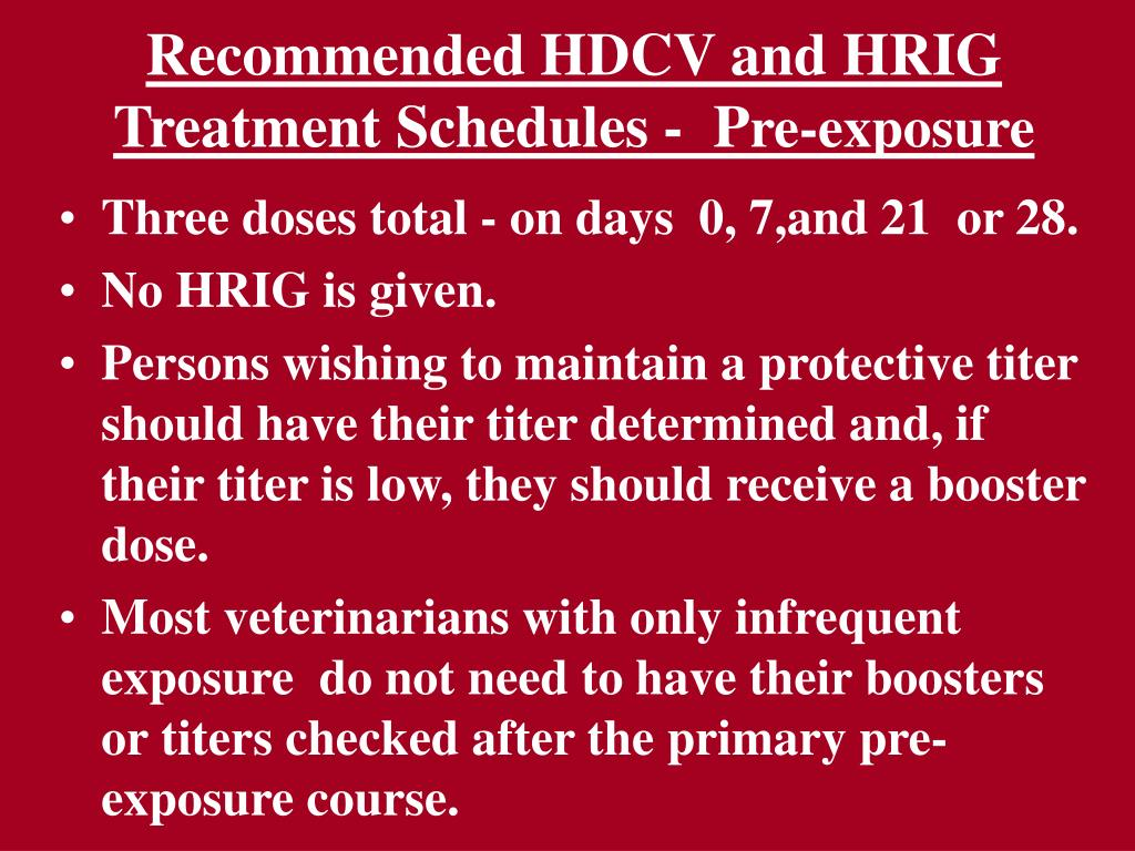 Recommended HDCV and HRIG Treatment Schedules -  P