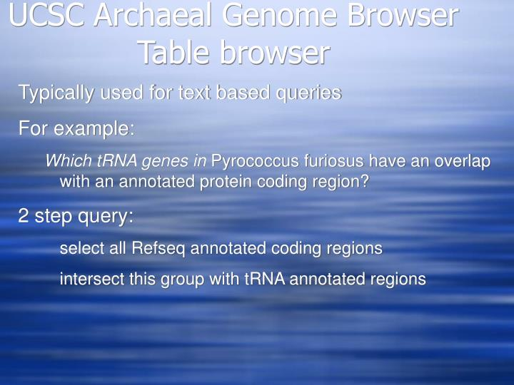 Ucsc archaeal genome browser table browser