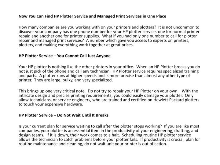 Now You Can Find HP Plotter Service and Managed Print Services in One