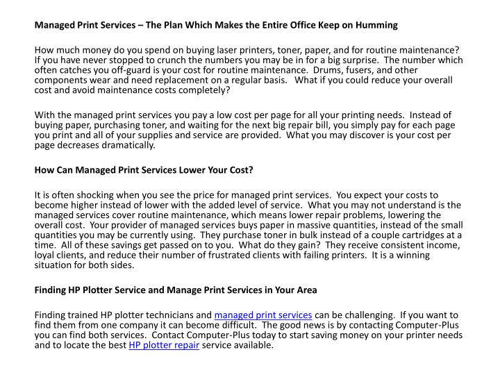 Managed Print Services – The Plan Which Makes the Entire Office Keep on