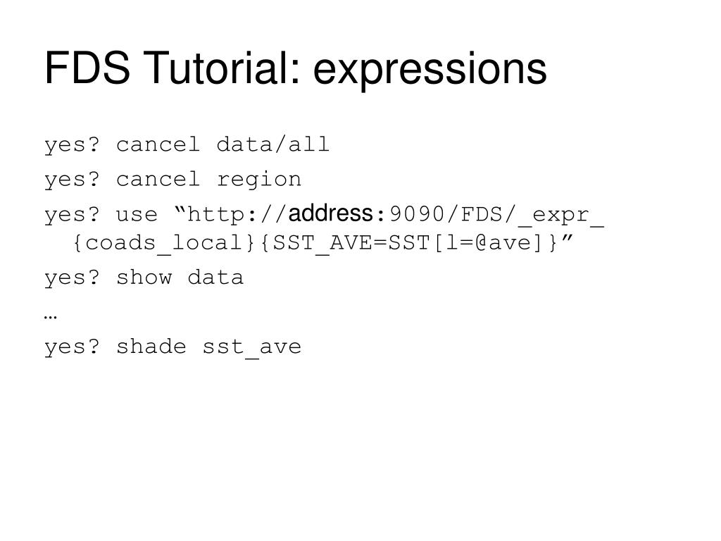 FDS Tutorial: expressions
