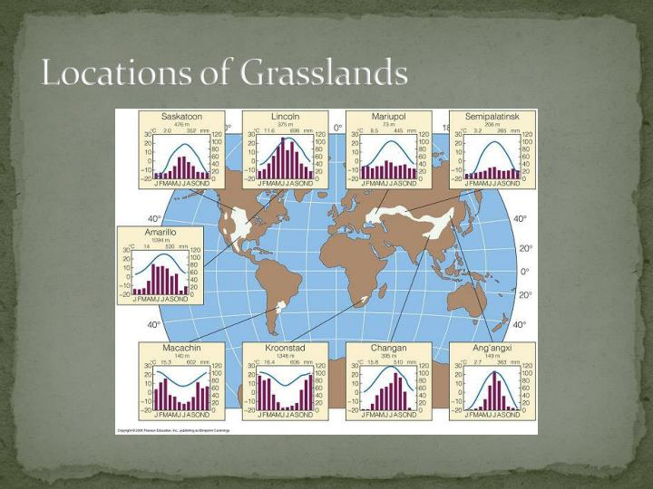 Locations of grasslands
