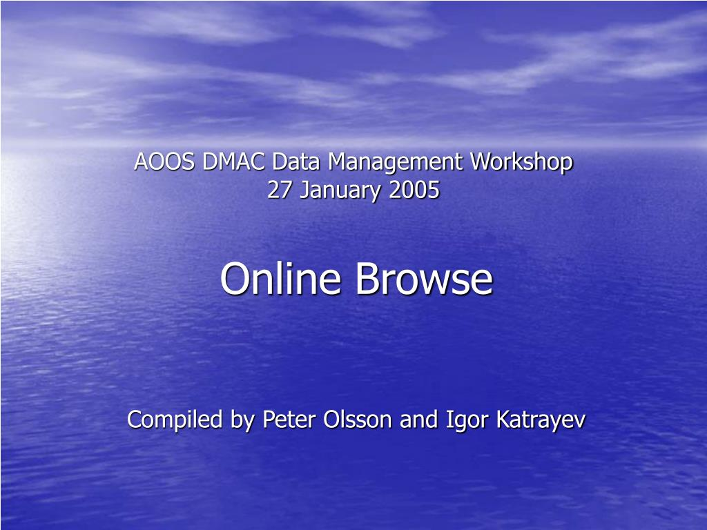 aoos dmac data management workshop 27 january 2005
