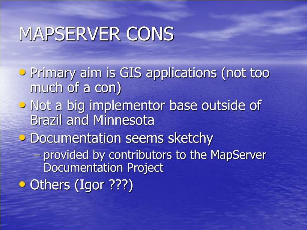 MAPSERVER CONS