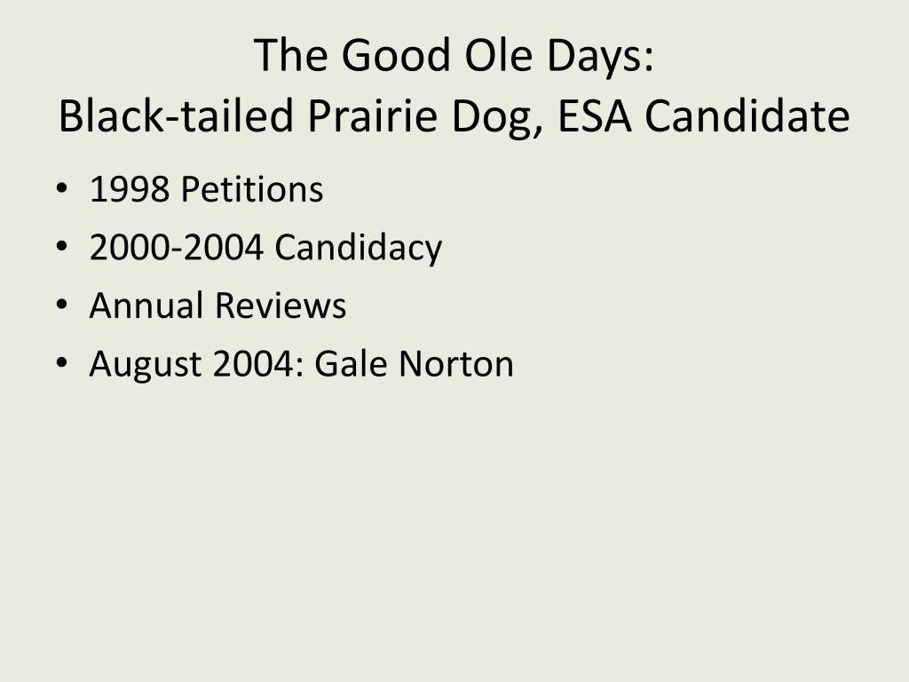 The Good Ole Days: