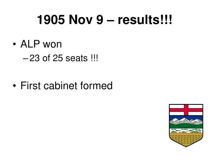 1905 Nov 9 – results!!!