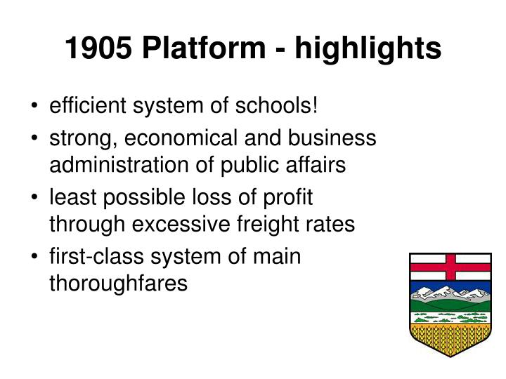 1905 platform highlights