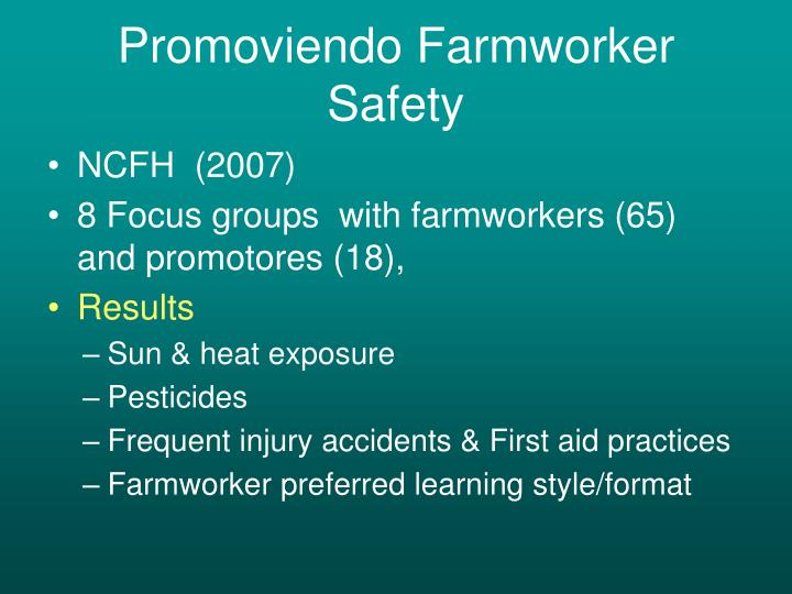 Promoviendo Farmworker Safety