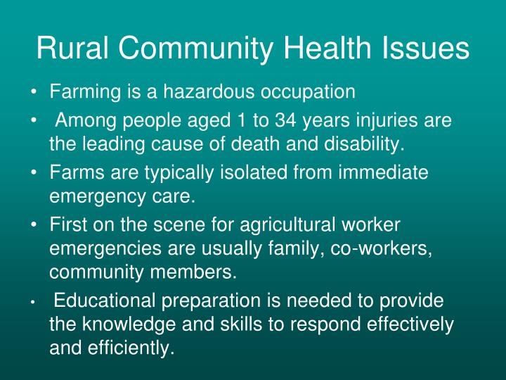 Rural Community Health Issues
