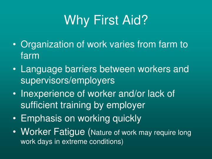 Why First Aid?