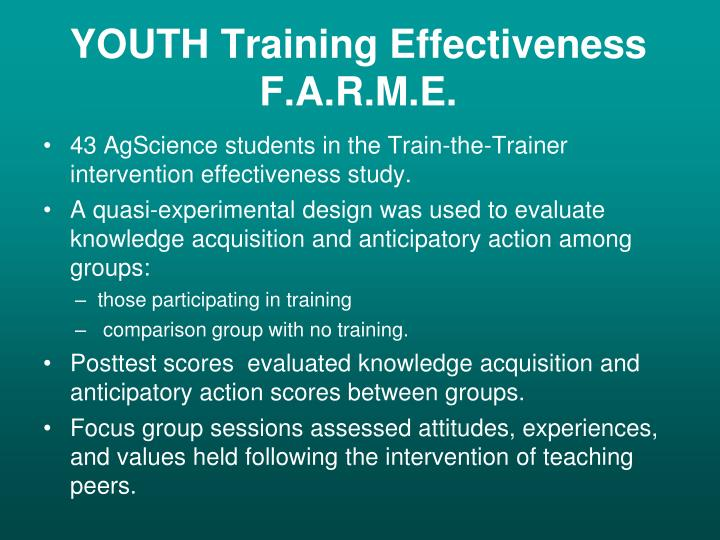 YOUTH Training Effectiveness
