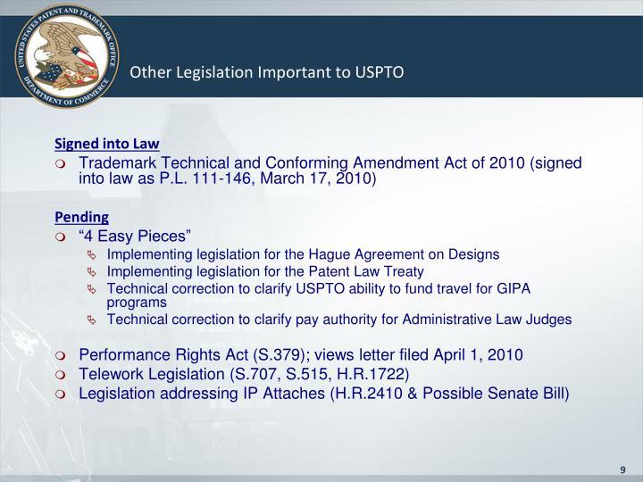 Other Legislation Important to USPTO