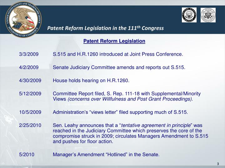 Patent Reform Legislation in the 111