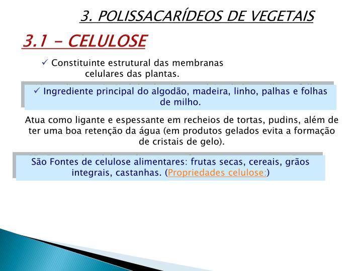 3. POLISSACARÍDEOS DE VEGETAIS