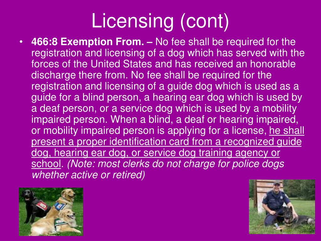Licensing (cont)