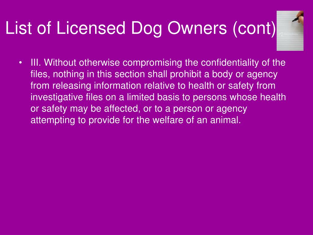 List of Licensed Dog Owners (cont)