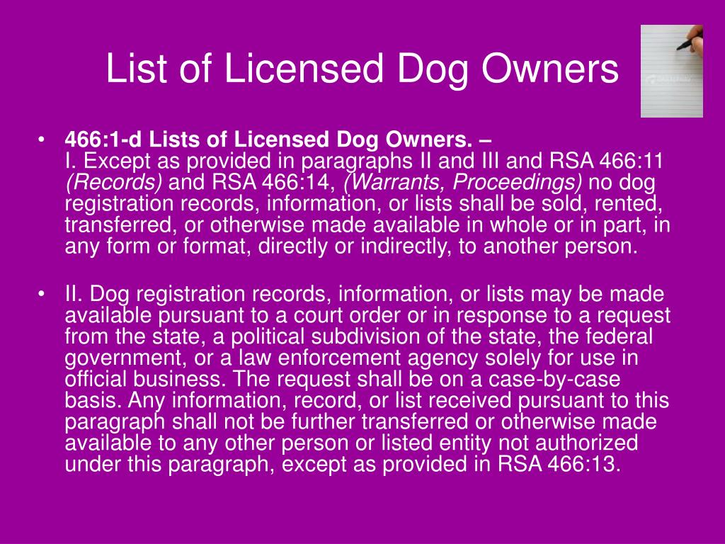 List of Licensed Dog Owners