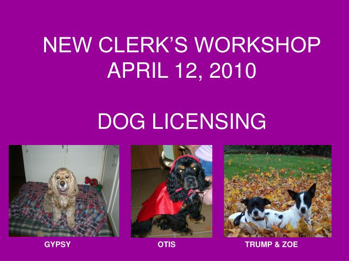 New clerk s workshop april 12 2010 dog licensing