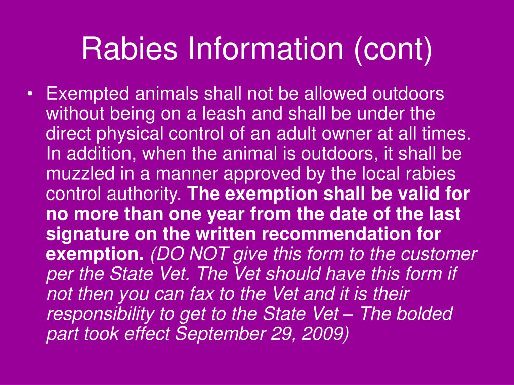 Rabies Information (cont)