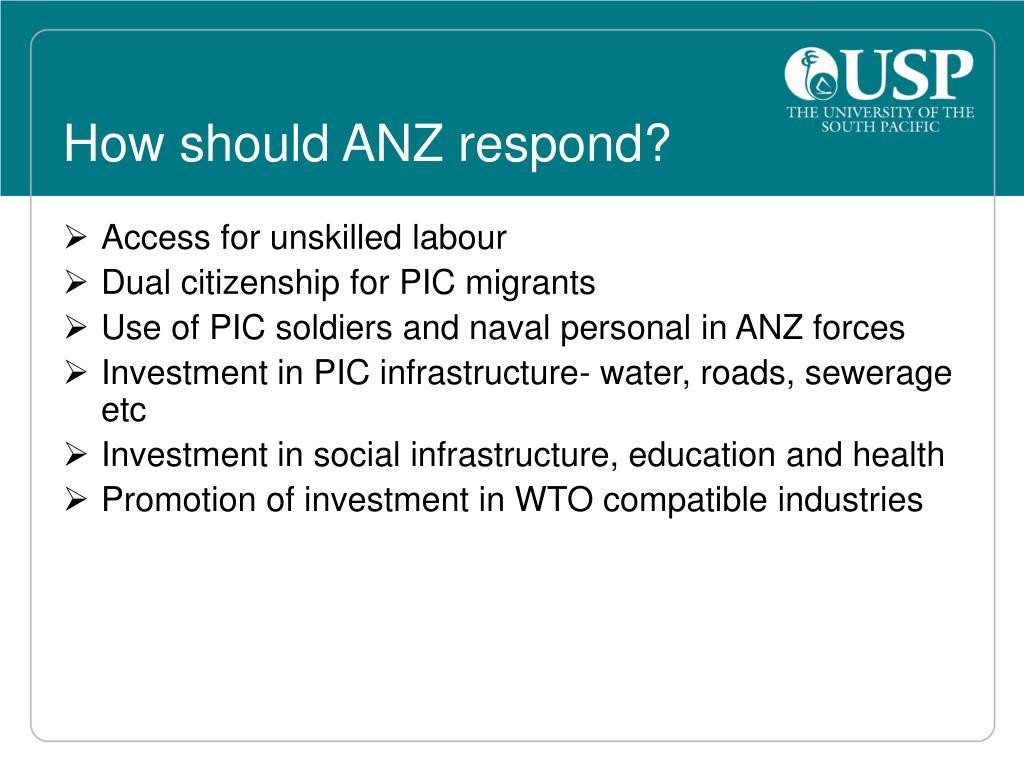 How should ANZ respond?