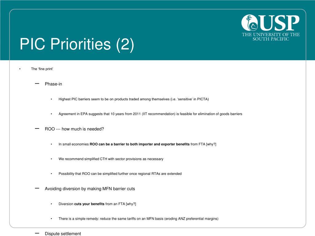 PIC Priorities (2)